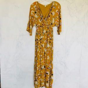 Francesca's/ Miami/ Mustard Floral Gauze Maxi